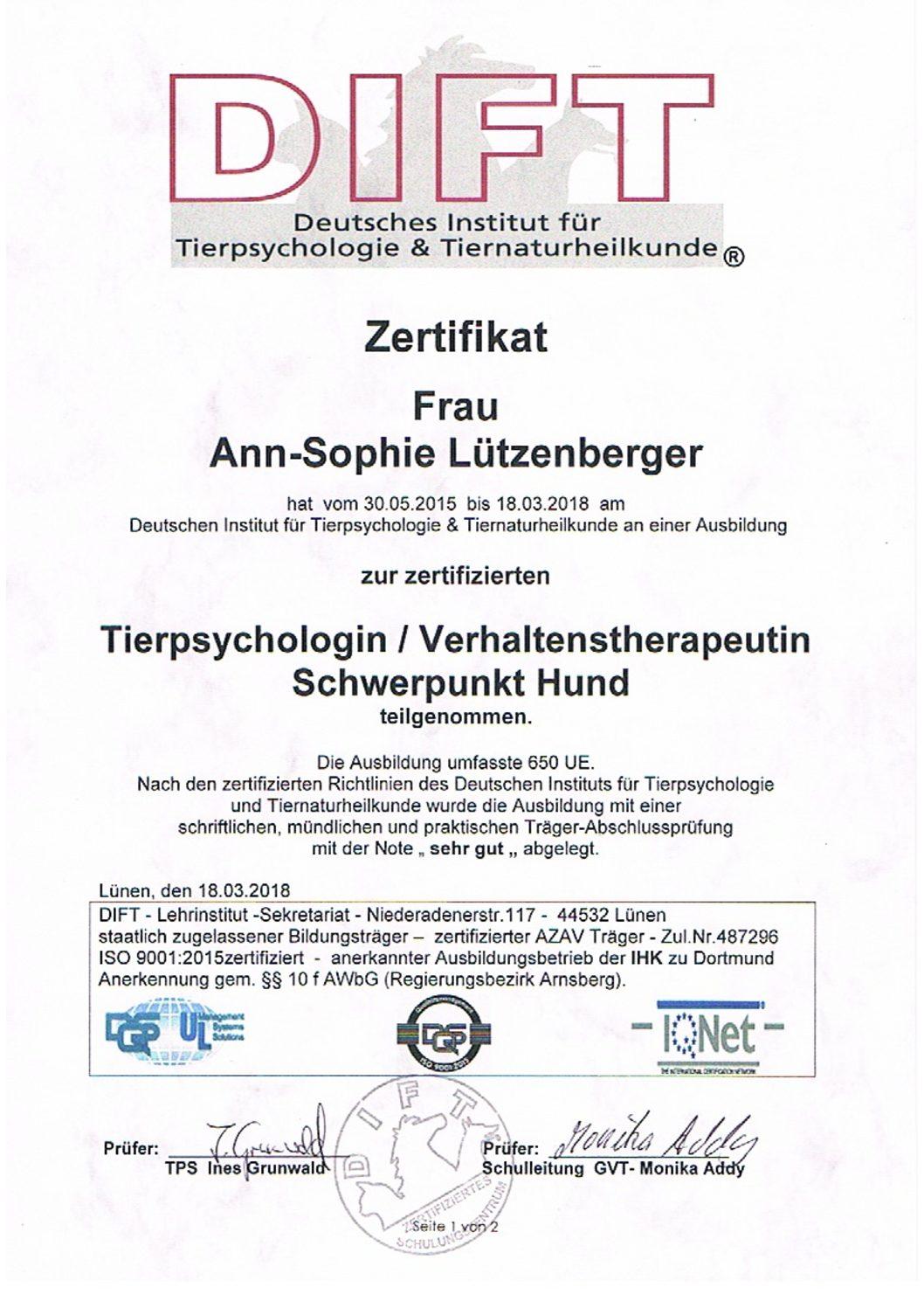 Ann-Sophie Lützenberger Abschlusszertifikat