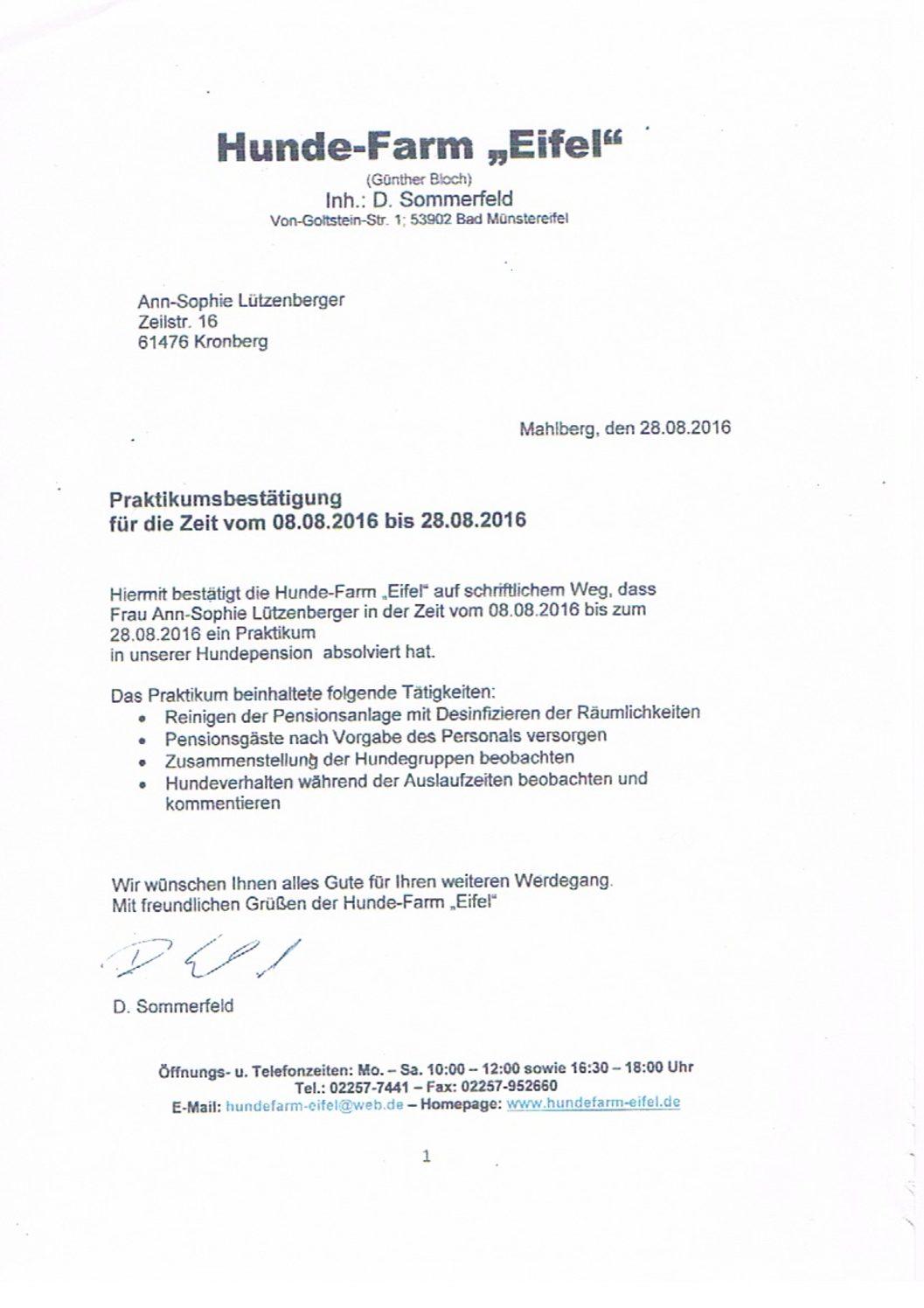 Praktikum Hundefarm Eifel August 2016 Ann-Sophie Lützenberger 2